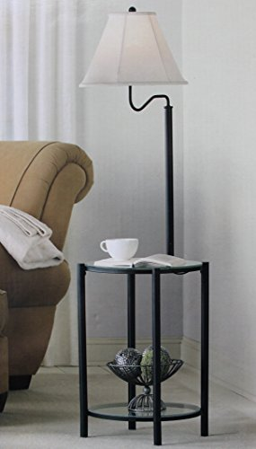 Mainstays Glass Furniture Floor Lamp (Matte Black Finish)