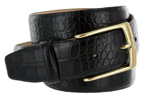 Joseph Gold Buckle Italian Leather Alligator Embossed Designer Dress Belt for Men (40, Black)