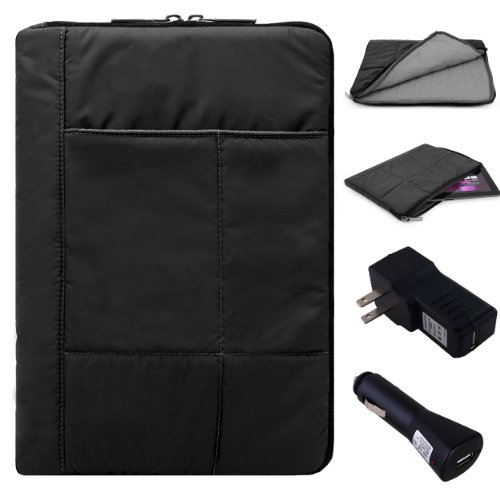 Pillow Zippered Sheen Quilted Sleeve [BLK] For Hipstreet 10 / Quad Core / Equinox 10.1/ HP Slate 8 Plus, Pavilion 10 x2, 10 G2 Tablets + Charging Kit