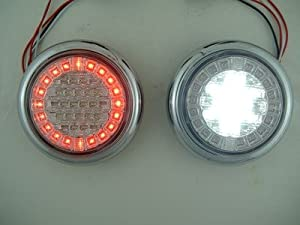 Euro Red White LED Combo Multi-Function Round Stop Turn Tail Reverse Lights