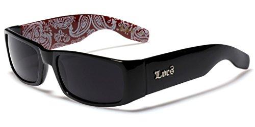 Locs Original Gangsta Shades Men's Hardcore Dark Lens Sunglasses with Bandana Print - Black & Red (Red Locs Sunglasses compare prices)