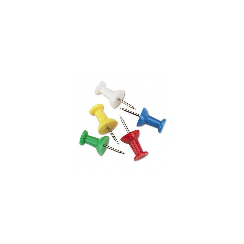 Plastic Head Push Pins, Assorted Colors, 100/box