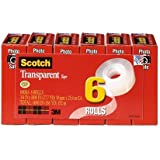 Scotch® Transparent Tape 600K6, 3/4-inch x 1000 Inches, 6-Pack