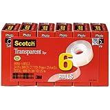 Scotch Transparent Tape, 3/4 x 1000 Inches, 6 Rolls (600K6)