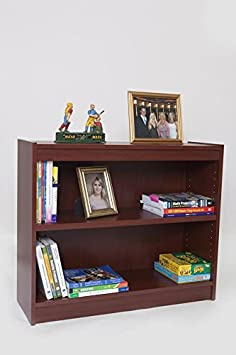 Norsons Industries Essentials Laminate Bookcase, 30-Inch, 1-Inch Thick Adjustable Shelves, Mahogany