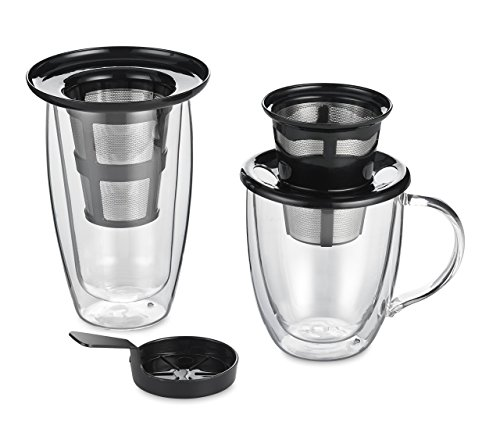 Java Concepts Reusable Single Cup Pour Over Filter for All Keurig K-cup Brewers, Tea Kettle or iCoffee. (Includes Pour-Over - Tea Infuser - Steeping Cover/Drip Tray) Stainless Steel (Stainless Steel Single Cup compare prices)