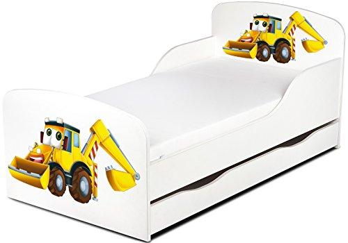 Moderne Lit d'Enfant Toddler motif M. PELLE Lit pour enfant avec tiroir à ranger + matelas