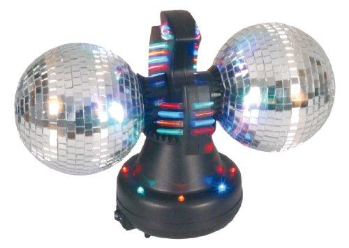 Naeve Leuchten Disco-Lampe / Tisch-Spiegel Rotor / 32 LED mit Farbwechsler / 12 V / 600 mA / 50 Hz / Ein Aus Schalter / 36 cm / 21 cm / ø 21 cm / Kugel - 11 cm / Spiegel Kunststoff / mit Motor, schwarz bunt 539261