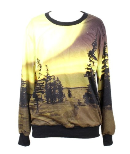 Pandolah Neon Galaxy Cosmic Colorful Patterns Print Sweatshirt Sweaters (Free size, Yellow)