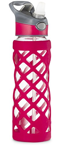Swig Savvy 25oz Glass Water Bottle - Protective Silicone Sleeve With 3 Interchangeable Leak-proof Caps . Sleek, Durable & Stylish - PBA Free - Break Resistant Borosilicate Glass (Pink,1 Pack) (Glass Water With Filter compare prices)