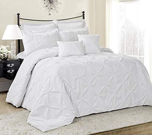 Townhouse Caraline 7 Piece Comforter Set Pinch Pleat Color Bed in a Bag Bedding Comforter Duvet, Fade Resistance, Super Soft (Queen, White)