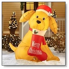6' Golden Retreiver Christmas Lighted Airblown Inflatable Dog with Stocking