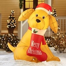 6' Golden Retreiver Christmas Lighted Airblown Inflatable Dog with Stocking Gemmy