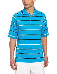 Bollé Men's Multi-Striped Short Sleeve Polo Shirt, Diva Blue/Black/Buttercup, Large