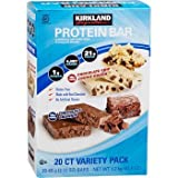 Protein Bar Kirkland Signature delicious energy variety (total 20 pack: 10 Chocolate Chip Cookie Dough, 10 Chocolate Brownie) Gluten Free, Real Chocolate, 15g of Fiber 2.12 oz bars
