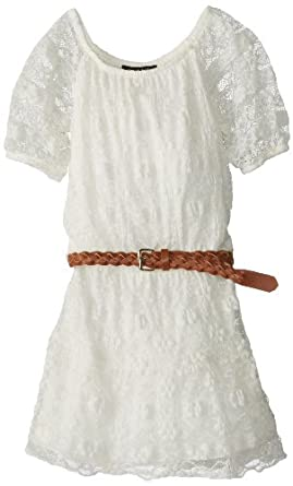 My Michelle Big Girls' 3/4 Sleeve Drop Waist Lace Dress with Braided Belt, White, 7