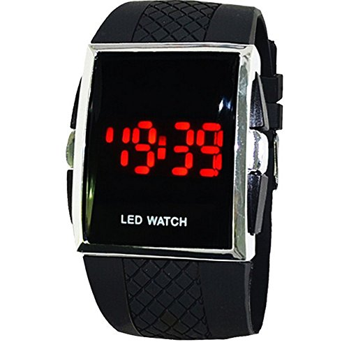 WANGSAURA® Men's Fashion LED Watch Digital Date Sports Waterproof Wrist Watch. Featuring the classic red LED display from the 70s.