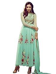 The Fashion World Women's Chiffon Semi Stitched Anarkali Dress Material