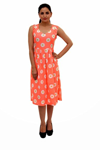 Damsel Sleeveless Color Crepe Printed Dress With Pleated Skirt For Women