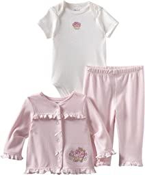 Little Me Baby-Girls Newborn Cupcake Rose Take Me Home Sleepwear Set , Pink, 3 Months