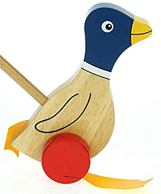 Blue Flappy Duck : Push Along Wooden Toys : Traditional : Handcrafted : Handpainted : For Toddler or Baby 12 months or over, Young Kids, Child & Children : H - 21cm W - 13cm D - 10cm Wood Handle - 47.5cm
