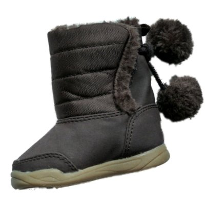 Infant Girls Brown Pom Pom Winter Baby Boots