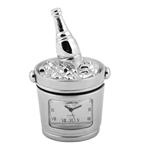 Miniature Clock Champagne Bottle Cooler-Satin Silver finish