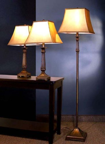 3pc Table & Floor Lamps Set in Deep Bronze Finish