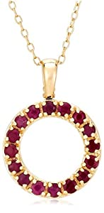 Yellow Gold Plated Sterling Silver Open Circle Ruby Pendant and Diamond Accents, 18""