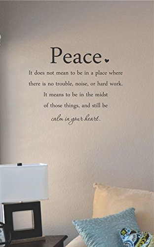 Peace It Does Not Mean To Be In A Place Where There Is No Trouble, Noise, Or Hard Work... Vinyl Wall Art Decal Sticker front-1026793