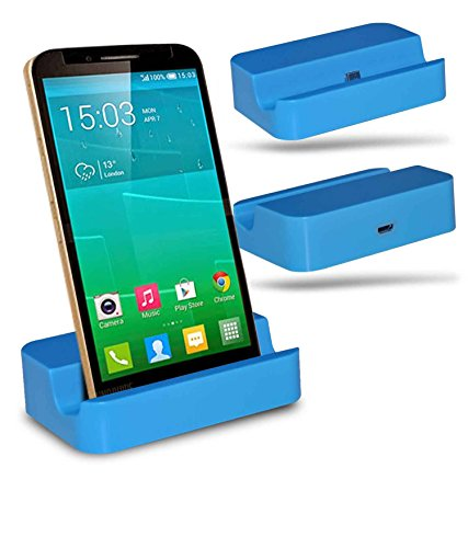 Alcatel Flash Plus + Station d'accueil de bureau avec chargeur Micro USB support de chargement - Blue - By Gadget Giant®