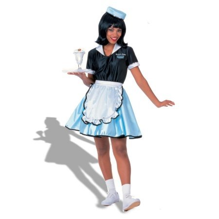 Rubies Costumes 126172 Car Hop Girl Adult Costume - Black - Standard One-size