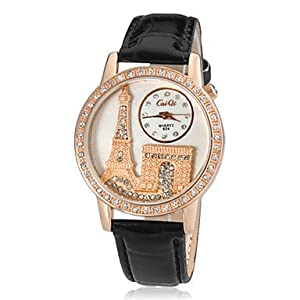Women's Crystal Paris Pattern Gold Case PU Band Quartz Analog Wrist Watch (Assorted Colors) ( Color : Red )