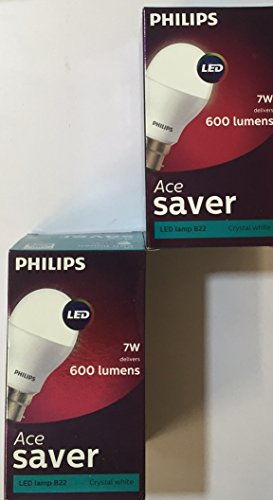 Ace Saver 7W 600L B22 LED Bulb (Crystal White, Pack of 2)