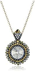 Miguel Ases Labradorite and Swarovski Crystal Pendant Necklace
