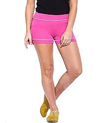 Espresso Solid Women's Basic Shorts-PINK