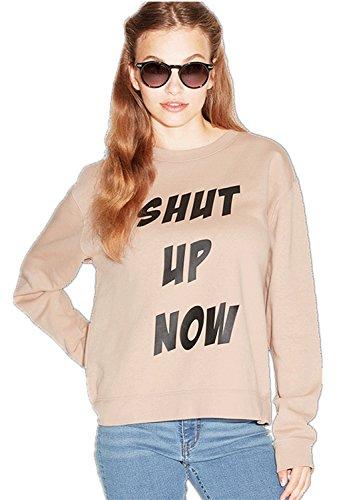 Shut Up Now T-shirt con scritta motivo logo slogan stampa con stampa Graphic Crewneck Felpa T-Shirt Maglietta Superiore Cima Top Kaki 2XL