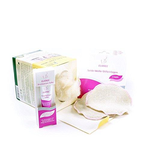Erste Hilfe Set Brustwarzen (Seide Wolle Stilleinlagen, Brustwarzensalbe, Schafwolle)