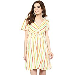 Mamacouture Maternity Neon Stripes Front Knot Short Dress For Women
