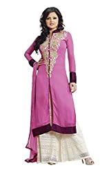 Adaa Women's Georgette Semi Stitched Dress Material (LT-62-02_Cherry Punch_Free Size)