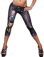 New Stylish Denim Look Ripped Faux Jean Blue Leggings Tights Pants (F7011)