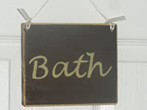 BATH Chic Shabby Rustic Custom Plaque Wood Sign Wall Decor CHOOSE COLOR