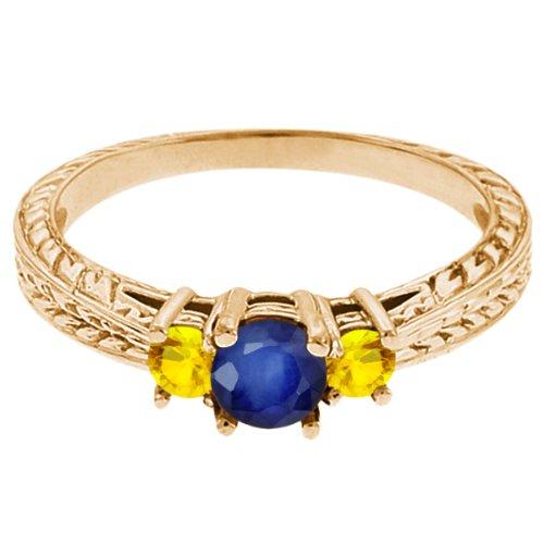 0.62 Ct Round Blue Sapphire Yellow Sapphire 14K Yellow Gold 3-Stone Ring