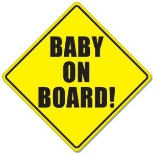 "Baby Safety Sign: ""BABY ON BOARD"", with suction disk. (Color: Black letters on Yellow background)"