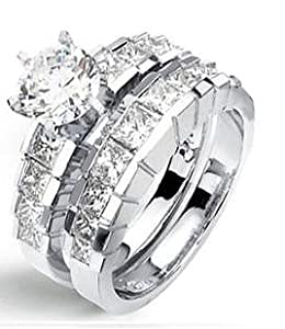 3.50 Ct Genuine Round Diamond Engagement Wedding Ring and band set 14K Gold (1.00 Ct Center E - F / VS2 - Si1)