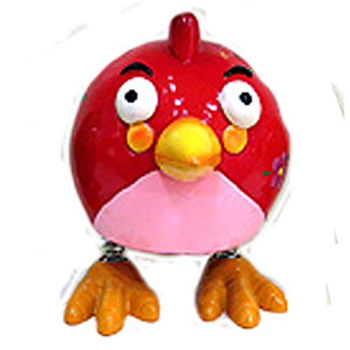 Whimsical Red Bird Spring Leg Coin Bank - 1