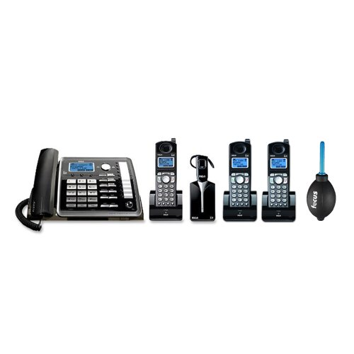 Rca 25270Re3 Visys 2-Line Corded/Cordless Landline Telephone With Answering System And Headset Bundle With 2 Rca Visys Dect 6.0 Accessory Handset + Professional Dust Blower