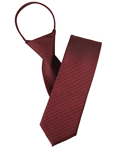 H2H Mens Comfortable Zipper Stripe Patterned Neck Tie RED ONESIZE (KMANT075) Mens Zipper Tie
