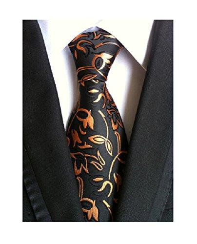 MINDENG Gold Blue Mens Floral Paisley Ties Silk Jacquard Woven Suits Tie Necktie
