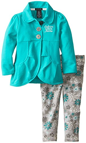 Calvin Klein Little Girls' Button Front Jacket Set, Green, 3T front-62519